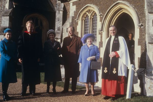 Graham (second left) with his wife Ruth and the Queen, Prince Philip and the Queen Mother, when he preached at Sandringham Pa