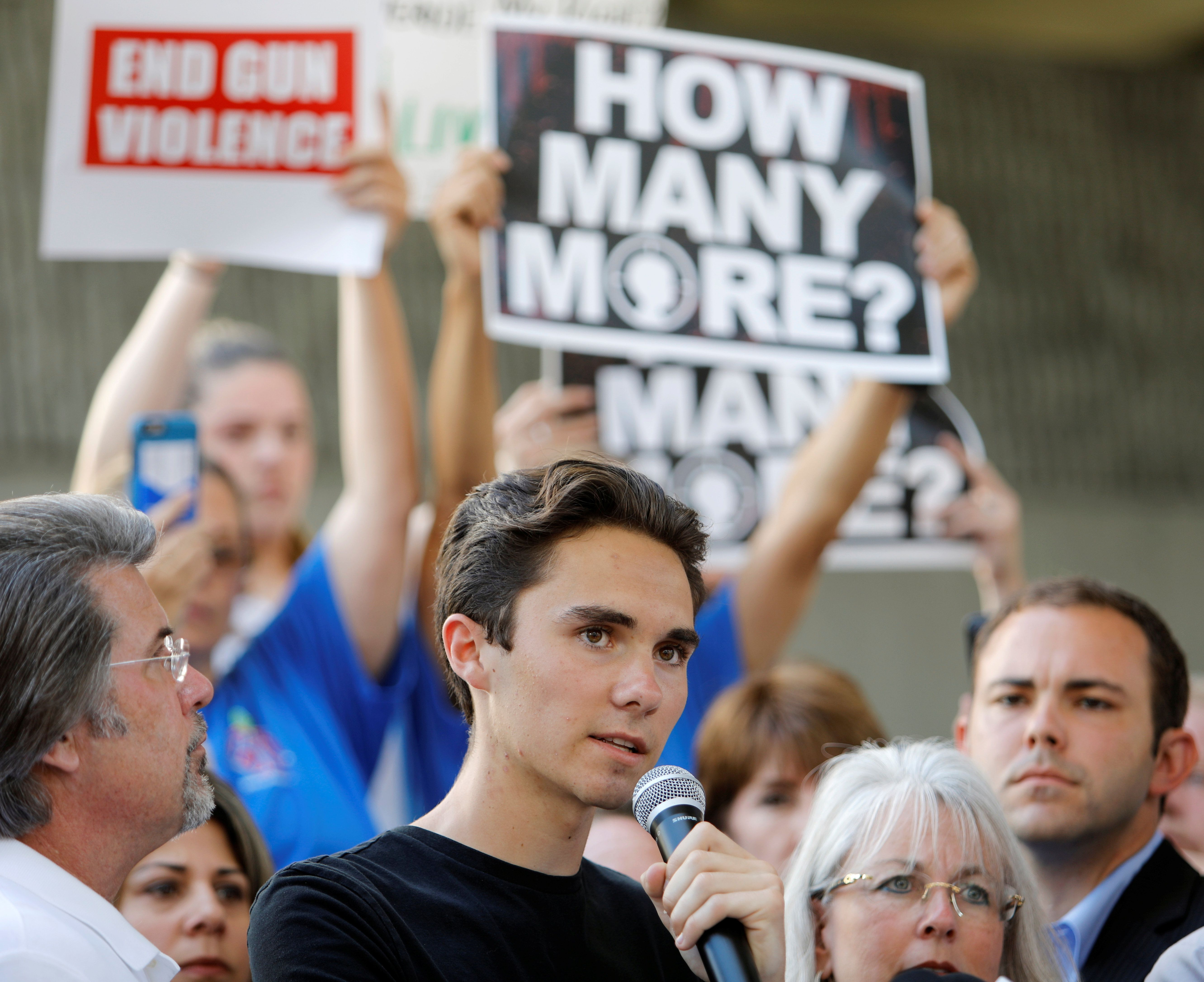 David Hogg, a senior at Marjory Stoneman Douglas High School, speaks at a rally calling for more gun control three days after the shooting at his school, in Fort Lauderdale, Florida, U.S. February 17, 2018.   REUTERS/Jonathan Drake