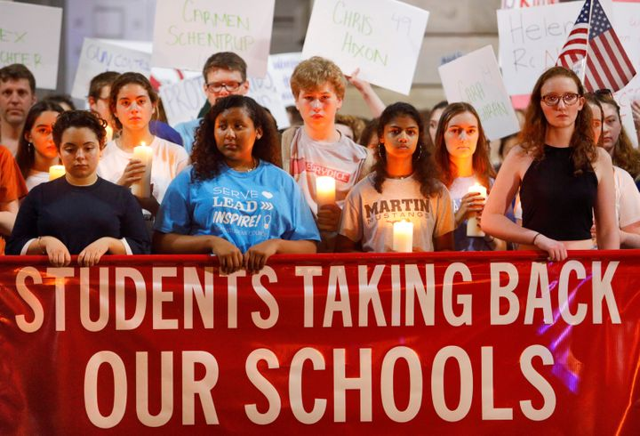 High school students in Raleigh, North Carolina, observe a moment of silence on Feb. 20, 2018 in memory of the victims of the shooting at Marjory Stoneman Douglas High School in Florida.