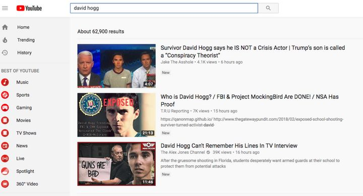 "The top search results for ""David Hogg"" as of Wednesday afternoon."