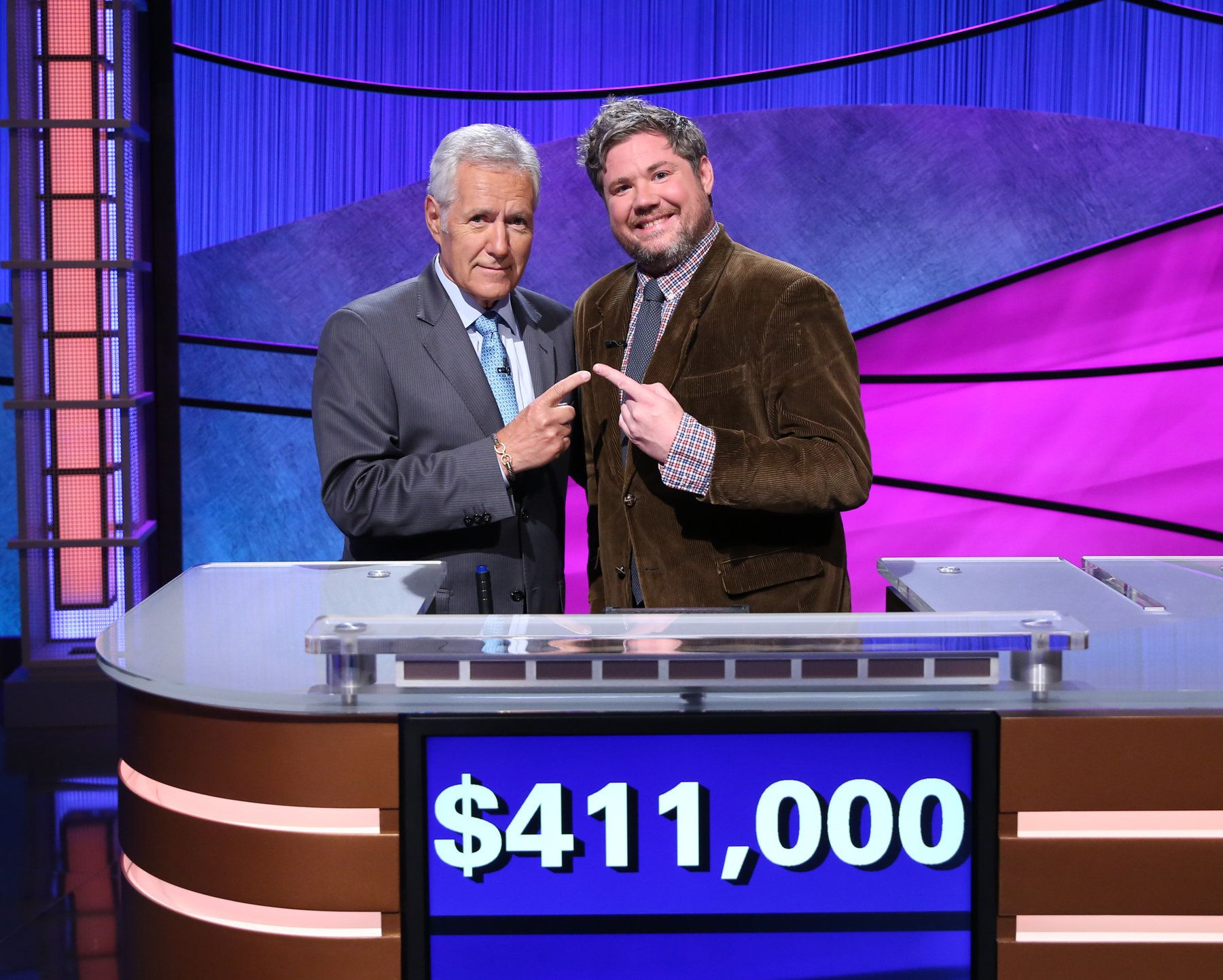 Alex Trebek and Austin Tyler Rogers on the set of Jeopardy