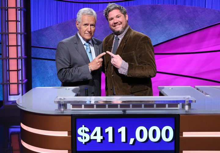 """Jeopardy!"" host Alex Trebek and contestant Austin Tyler Rogers, who took home $463,000 after appearing on the show."