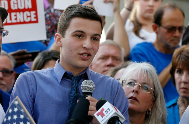 Marjory Stoneman Douglas High School student Cameron Kasky speaks at a rally for gun control at the Broward County Federal Co