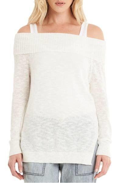"Always keep a lightweight long-sleeve sweater, like <a href=""https://shop.nordstrom.com/s/michael-stars-off-the-shoulder-swea"