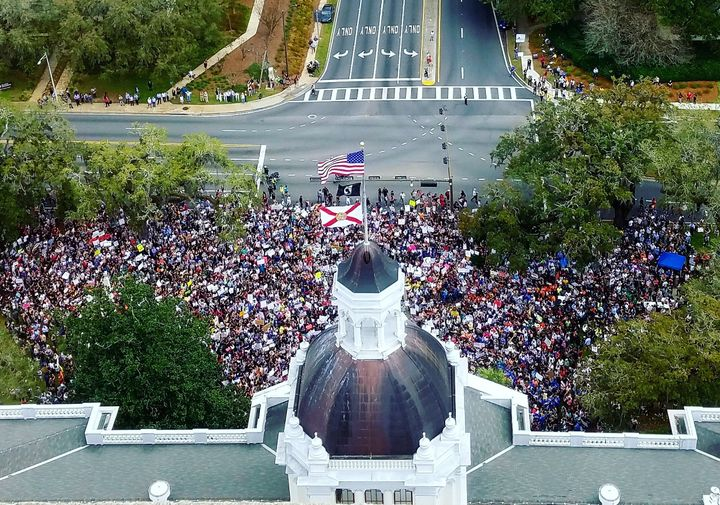 Students rally in front the Florida State Capitol in Tallahassee.