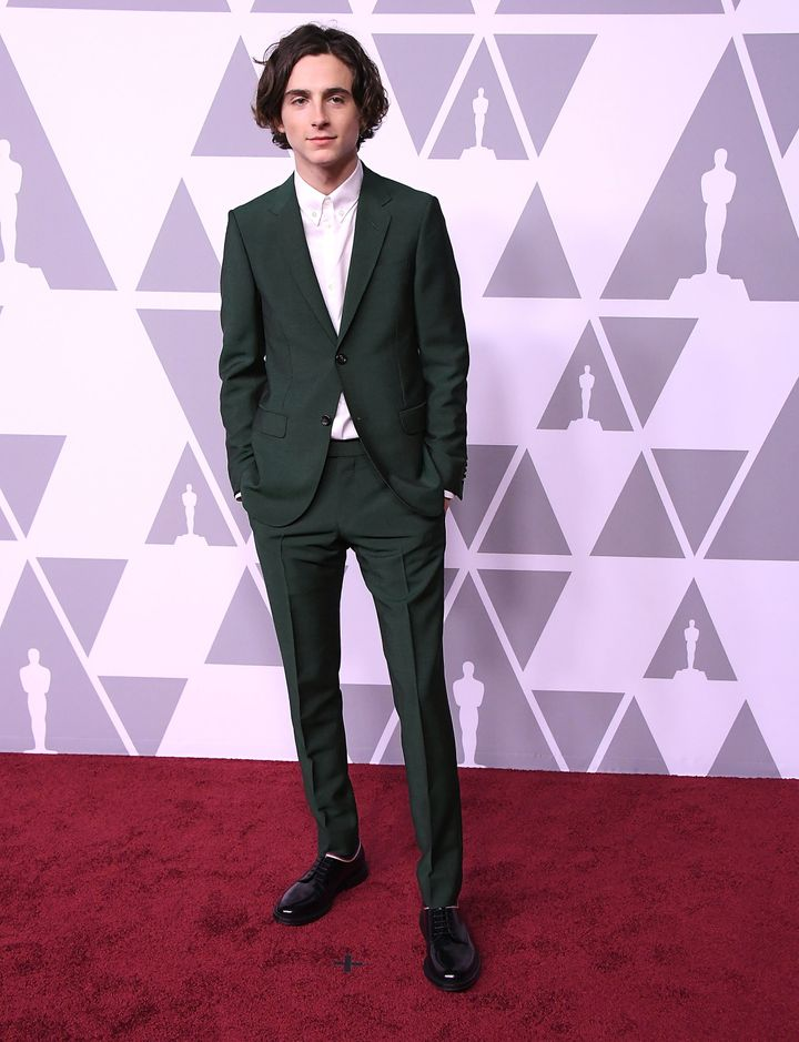 Timothée Chalamet arrives at the 90th Annual Academy Awards Nominee Luncheon.