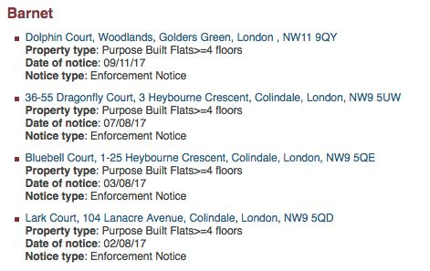 An example of how London Fire Brigade lists buildings that have failed fire safety checks, from Barnet...