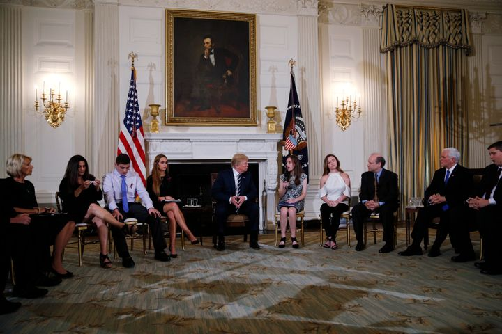 President Donald Trump hosts a listening session with high school students, parents and teachers to discuss school safety at