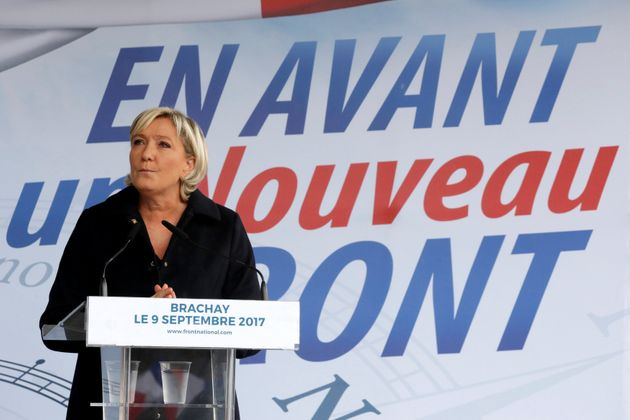 Marine Le Pen delivers a speech at a political rally on Sept.