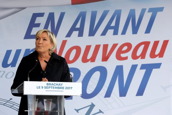 Marine Le Pen delivers a speech at a political rally on Sept. 9.