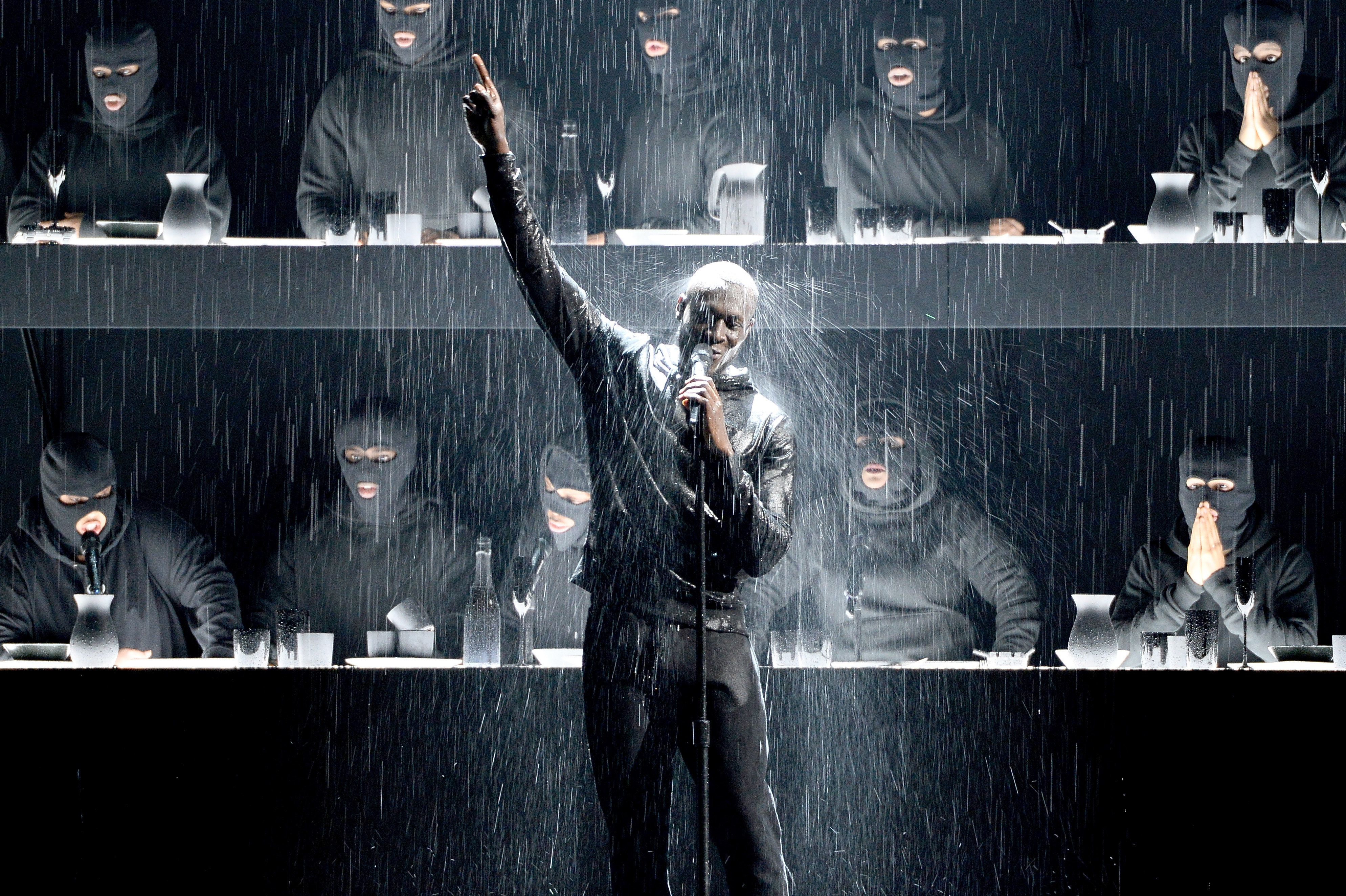 <strong>Stormzy on stage at the Brits</strong>