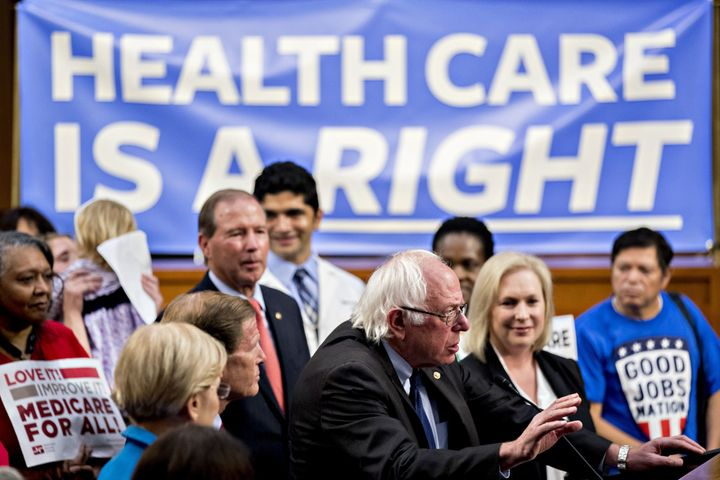 Senator Bernie Sanders (I-Vt.), center, speaks at a Sept. 13, 2017, news conference on GOP health care legislation on Ca
