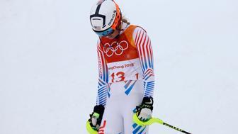 Alpine Skiing - Pyeongchang 2018 Winter Olympics - Women's Alpine Combined - Jeongseon Alpine Centre - Pyeongchang, South Korea - February 22, 2018 - Lindsey Vonn of the U.S. reacts in the Women's Slalom part of the Women's Alpine Combined. REUTERS/Mike Segar