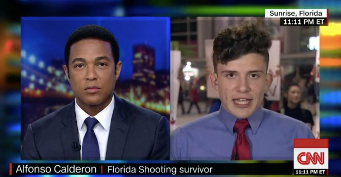 Alfonso Calderon (right) speaks with CNN's Don Lemon about the president's ideas to prevent school shootings.