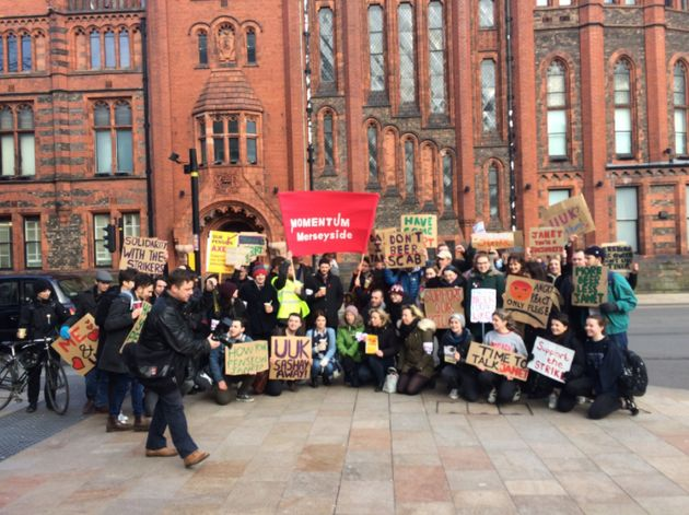 Students at the University of Liverpool gather in solidarity to support their