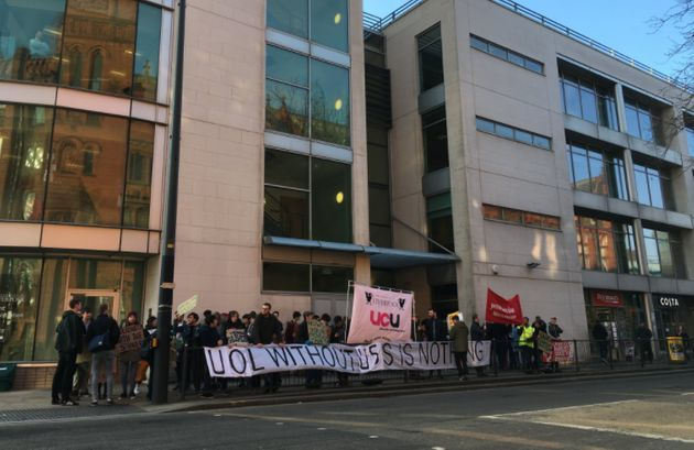 Students and lecturers on the picket line at the University of