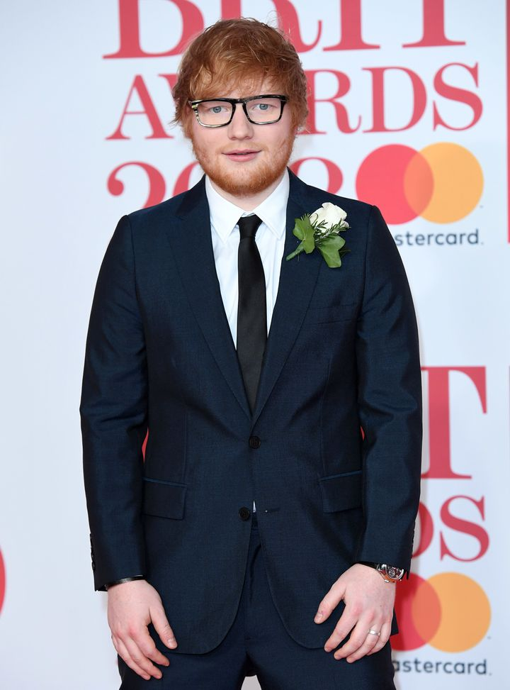 Ed Sheeran at the 2018 Brit Awards on Feb. 21 in London, England.