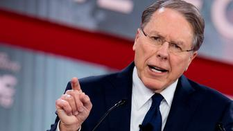 The National Rifle Association's (NRA) Executive Vice President and CEO Wayne LaPierre speaks during the 2018 Conservative Political Action Conference at National Harbor in Oxen Hill, Maryland on February 22, 2018. / AFP PHOTO / JIM WATSON        (Photo credit should read JIM WATSON/AFP/Getty Images)