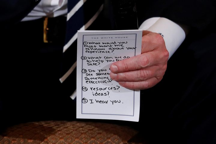 Another view of Trump's prepared questions photographed by Reuters.