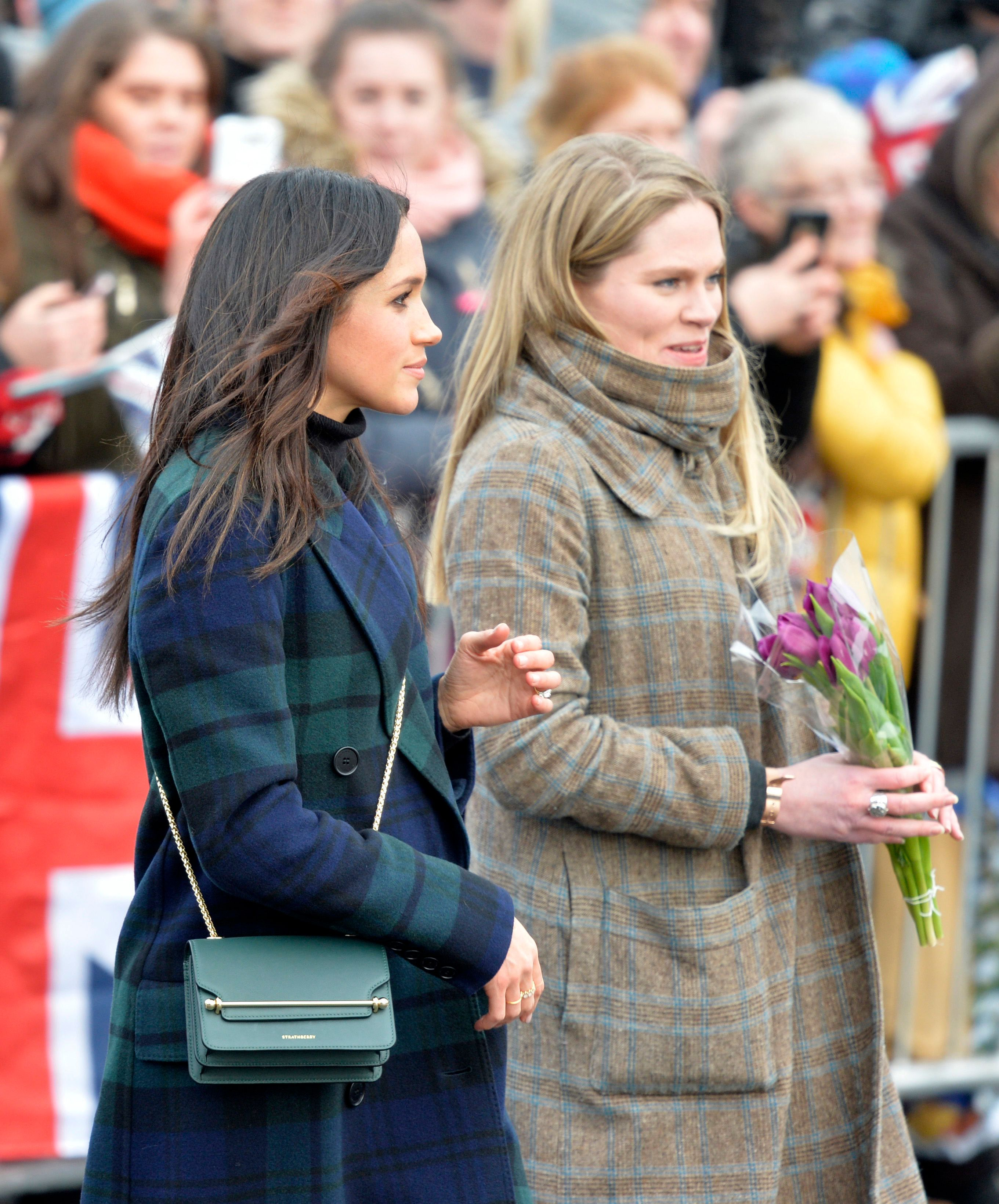 <strong>Meghan Markle and Pickerill during an official visit to Edinburgh Castle</strong>