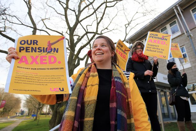 University and College Union members outside the University of Kent campus in