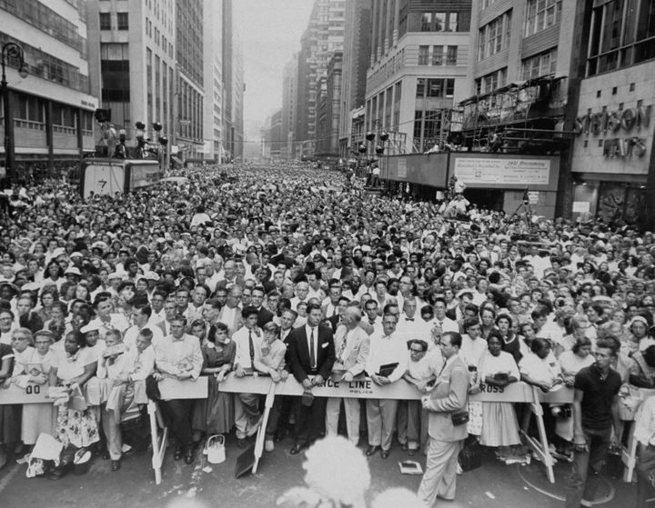 The crowd gathered in Times Square to hear Billy Graham preach, Sept. 3, 1957.
