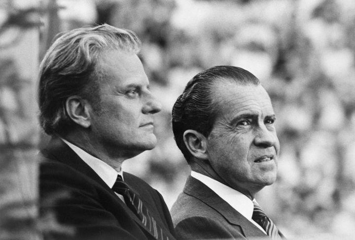 President Richard Nixon (right) with evangelist Billy Graham in 1970.
