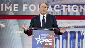 Wayne LaPierre, chief executive officer of the National Rifle Association (NRA), speaks at the Conservative Political Action Conference (CPAC) in National Harbor, Maryland, U.S., on Thursday, Feb. 22, 2018. The list of speakers at CPAC that opens today includes two European nativists who will address the gathering between panels and events on the dangers of immigration, Sharia law and lawless government agencies. Photographer: Andrew Harrer/Bloomberg via Getty Images