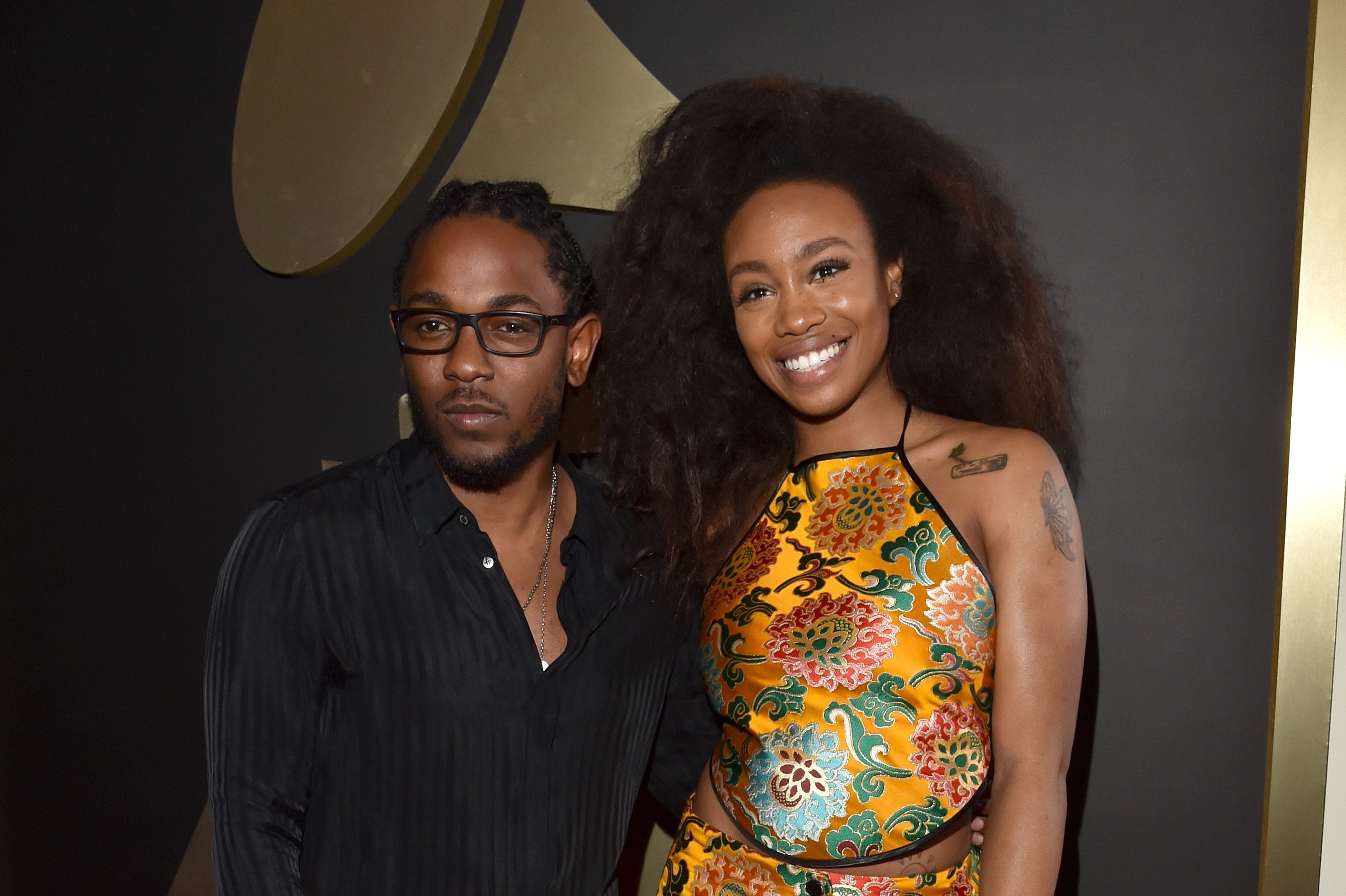 LOS ANGELES, CA - FEBRUARY 15:  Recording artists Kendrick Lamar and SZA attend The 58th GRAMMY Awards at Staples Center on February 15, 2016 in Los Angeles, California.  (Photo by Lester Cohen/WireImage)