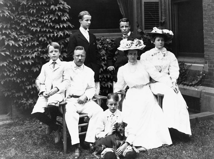 Roosevelt with his family at Oyster Bay in New York.