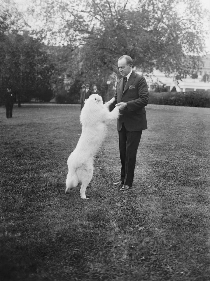 Coolidge with his dog, Rob Roy, in 1924.