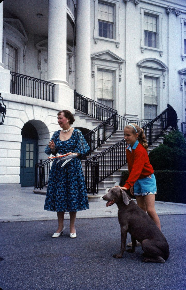 First Lady Mamie Eisenhower with Heidi and her granddaughter Barbara Anne in 1958.