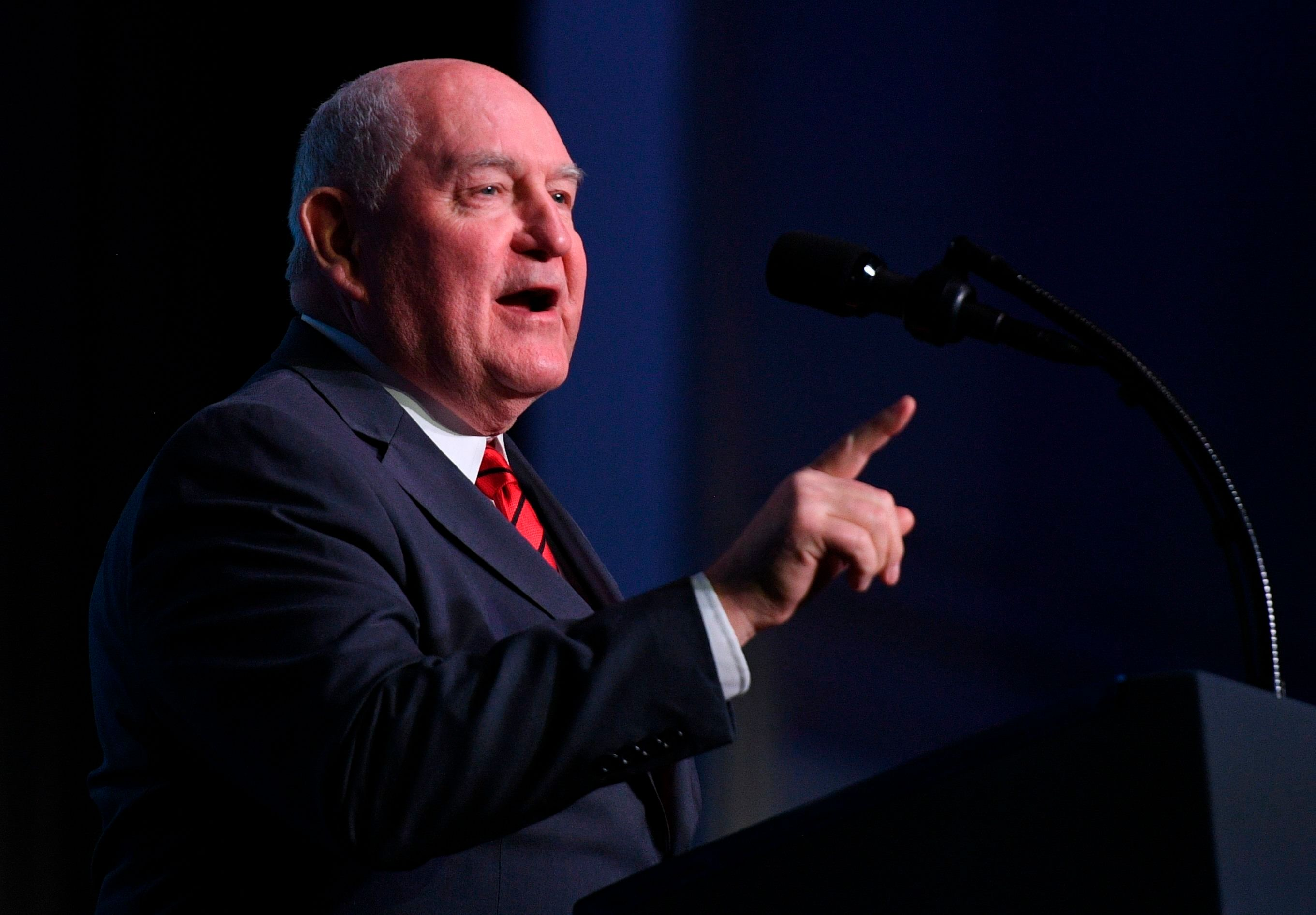 Sonny Perdue, United States Secretary of Agriculture,  speaks at the American Farm Bureau Federations 99th Annual Convention at Opryland in Nashville, Tennessee, on January 8, 2018.  / AFP PHOTO / JIM WATSON        (Photo credit should read JIM WATSON/AFP/Getty Images)