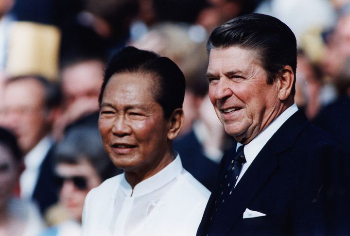 Former U.S. President Ronald Reagan with former Philippine President Ferdinand Marcos on Sept. 16, 1982.