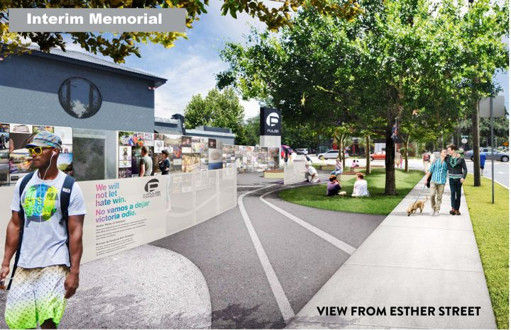 Features of the interim memorial include interactive walls, new lighting and fencing around the original nightclub.