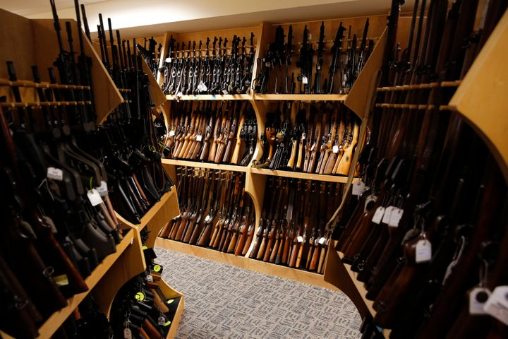 Firearms line the shelves in the gun library at the U.S. Bureau of Alcohol, Tobacco, Firearms and Explosives National Tracing