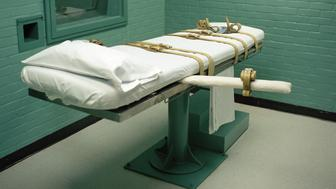 Death chamber gurney at the Huntsville prison in Texas. The State of Texas adopted lethal injection as a means of execution in 1977. The first lethal injection in the country was performed in the Huntsville death chamber on December 7, 1982. Since the execution of Charlie Brooks Jr., Texas has performed a total of 241 executions by lethal injection.The state of Texas executes more people than all of the other states combined. Using lethal injection, Texas has executed over 500 prisoners since th (Photo by Andrew Lichtenstein/Corbis via Getty Images)