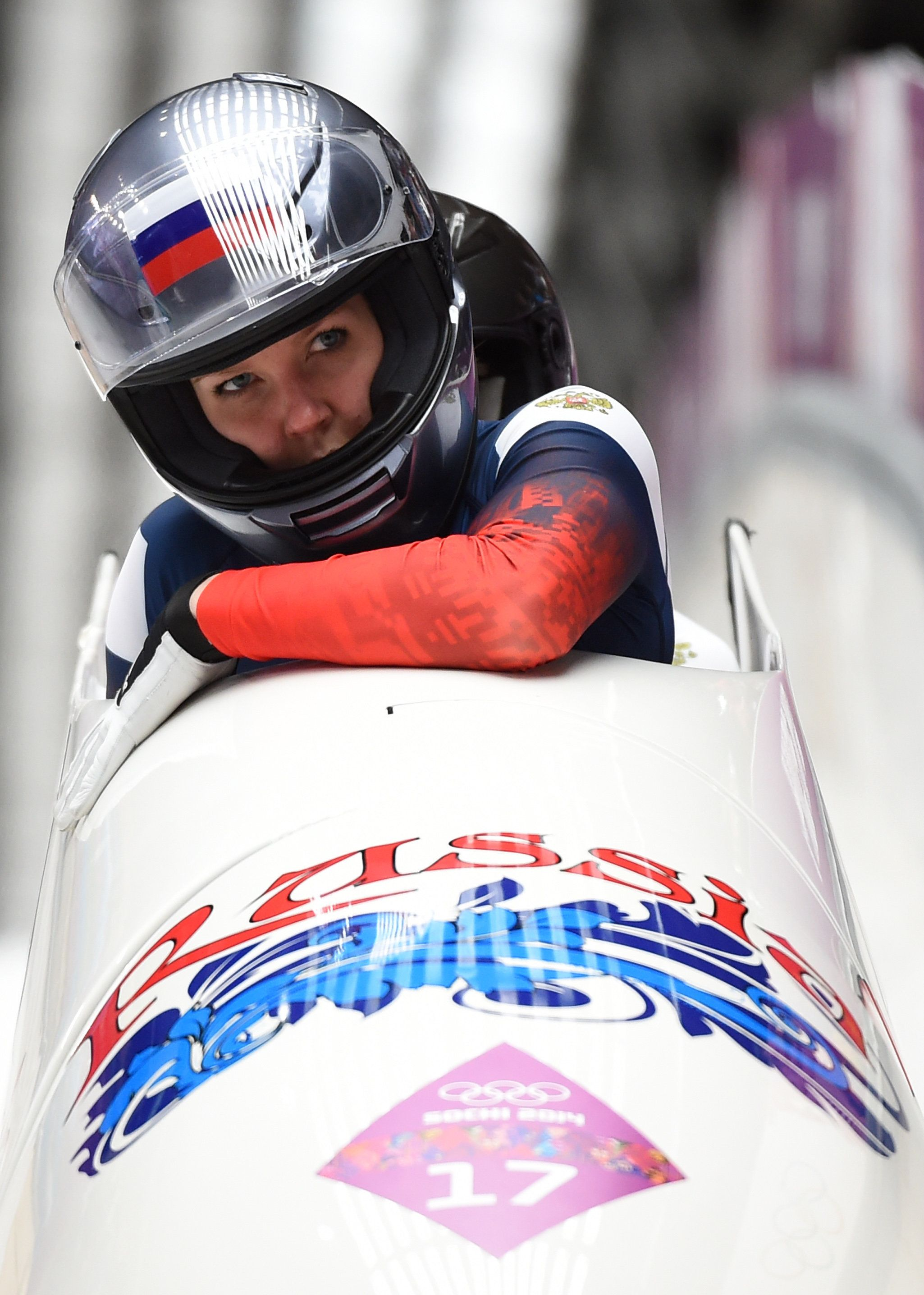 Russia-2 two-woman bobsleigh pilot Nadezhda Sergeeva and brakewoman Nadezhda Paleeva compete in the Women's Bobsleigh Heat 4 and final run at the Sliding Center Sanki during the Sochi Winter Olympics on February 19, 2014.     AFP PHOTO / LEON NEAL        (Photo credit should read LEON NEAL/AFP/Getty Images)