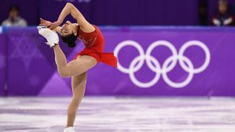 USA's Mirai Nagasu competes in the women's single skating free skating of the figure skating event during the Pyeongchang 2018 Winter Olympic Games at the Gangneung Ice Arena in Gangneung on February 23, 2018. / AFP PHOTO / ARIS MESSINIS        (Photo credit should read ARIS MESSINIS/AFP/Getty Images)