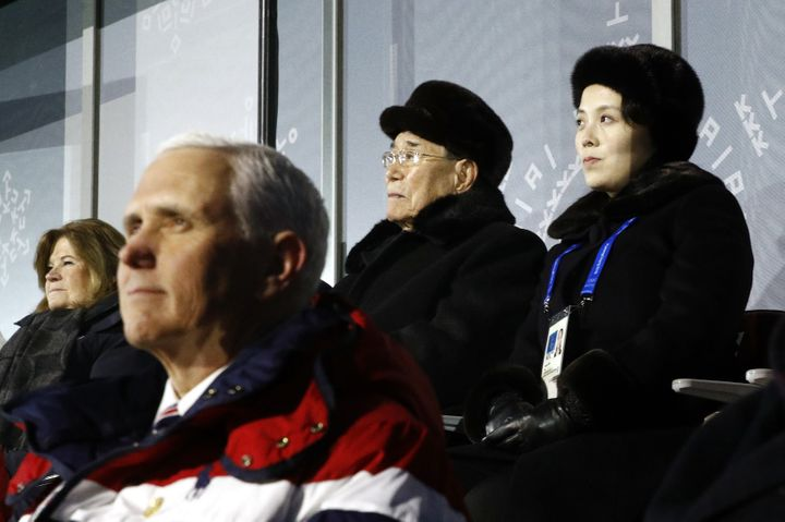 Kim Yo Jong, top right, sister of North Korean leader Kim Jong Un, sits alongside Kim Yong Nam, president of the Presidium of