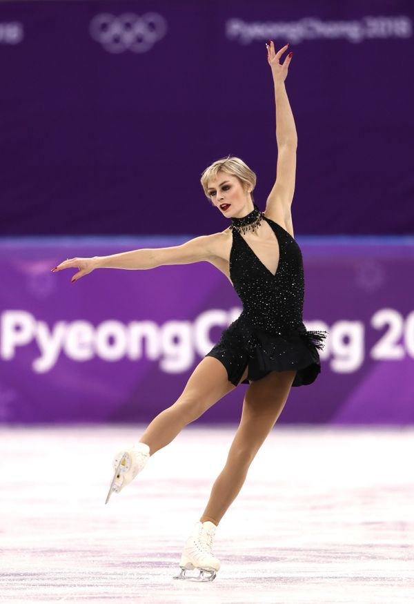 Austman, of Canada, wore this little black dress for her short program during the ladies single event, proving that sometimes