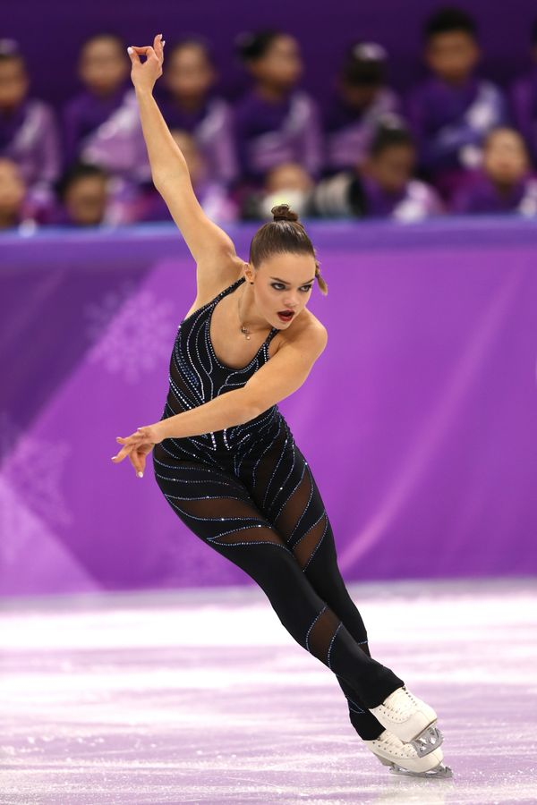 Belgium's Hendrickx was one of a handful of women who chose to wear a unitard for competition. The skater wore this number fo