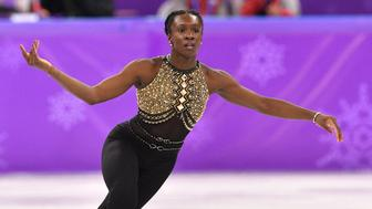 France's Mae Berenice Meite competes in the women's single skating short program of the figure skating event during the Pyeongchang 2018 Winter Olympic Games at the Gangneung Ice Arena in Gangneung on February 21, 2018. / AFP PHOTO / Mladen ANTONOV        (Photo credit should read MLADEN ANTONOV/AFP/Getty Images)