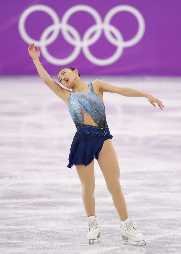 Japan's Sakamoto wore this lovely blue costume for the ladies single short program earlier this week. It's giving us some <a