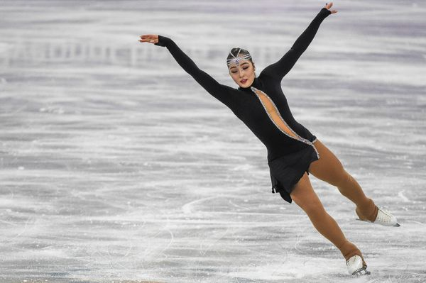 The skater representing Kazakhstan wore this striking black costume for her free skate. The full body cutout is pretty sexy,