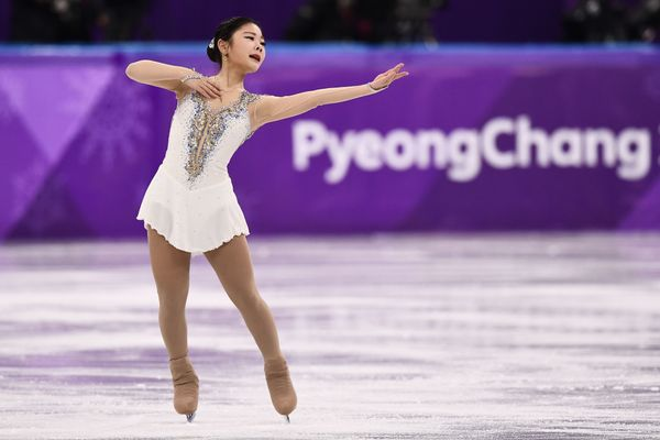 The South Korean skater wore this white ensemble for the women's single free skating portion of the games, and it's just plai