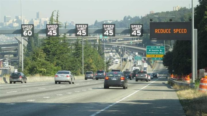 Washington state uses variable speed limits on Interstate 5 approaching downtown Seattle. A growing number of states are usin