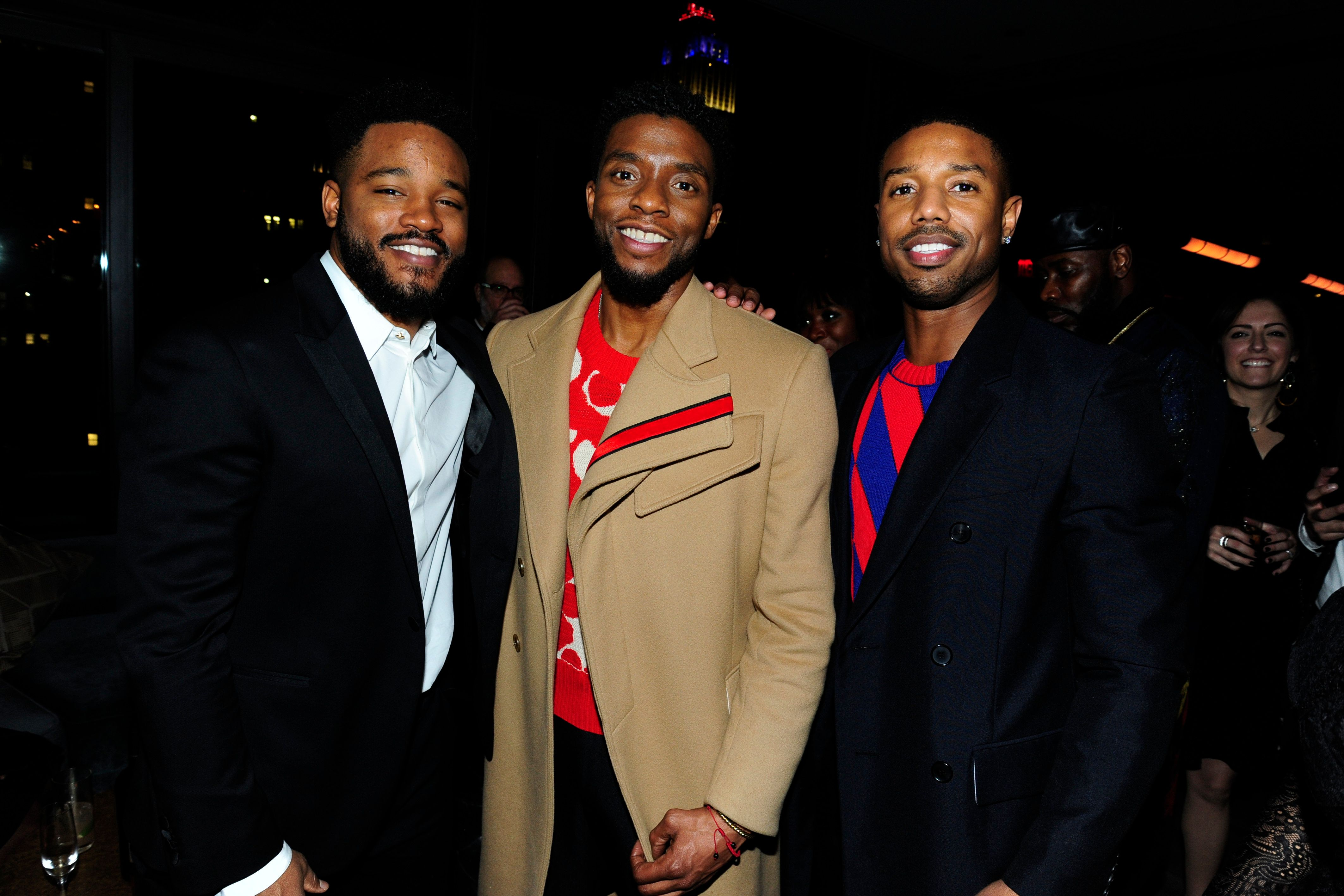 NEW YORK, NY - FEBRUARY 13: Ryan Coogler, Chadwick Boseman and Michael B. Jordan attend The Cinema Society with Ravage Wines & Synchrony host the after party for Marvel Studios' 'Black Panther' at The Skylark on February 13, 2018 in New York City.  (Photo by Paul Bruinooge/Patrick McMullan via Getty Images)
