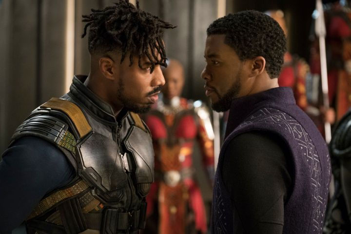 Killmonger (left) and T'Challa have very different backgrounds in the film.