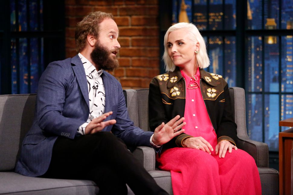 Ben Sinclair and Katja Blichfeld during an interview with Seth Meyers in 2016.